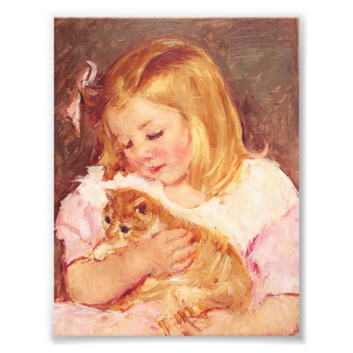 Little Girl with Cat Photo Print