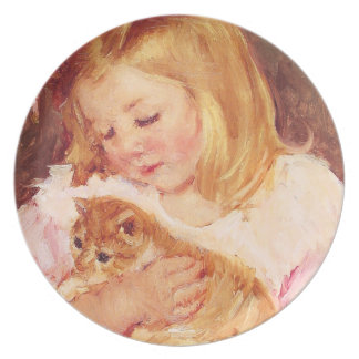 Little Girl with Cat Plate