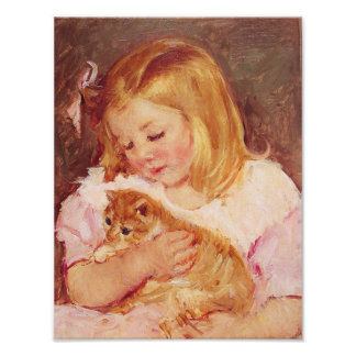 Little Girl with Cat Poster