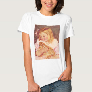 Little Girl with Cat T-shirt