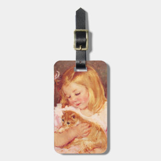Little Girl with Cat Tags For Bags