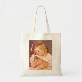 Little Girl with Cat Tote Bag