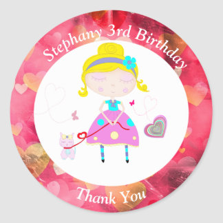 Little girl with cute cat illustration round sticker