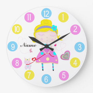 Little girl with cute cat multicolored wall clock