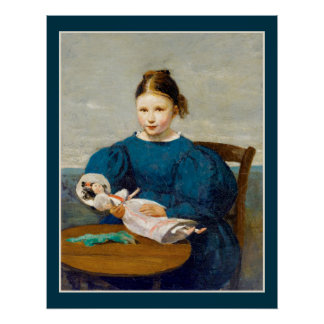 Little Girl with Doll by Corot Poster