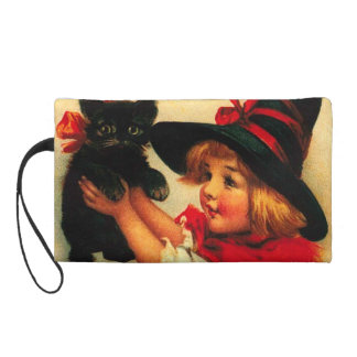 Little Girl With Her Black Cat Wristlet Purses