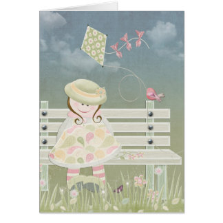 little girl with kite card