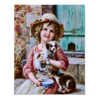 Little Girl with Pets by Emile Vernon Poster