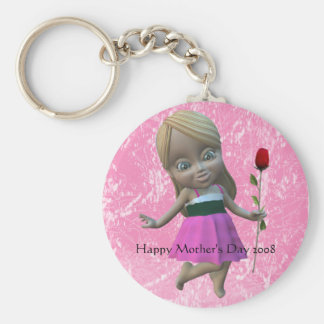 Little Girl with Rose, Happy Mother's Day 2008 Basic Round Button Key Ring