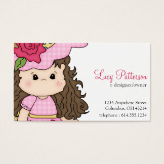 Little Girl with Roses Flower Business Cards