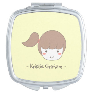 Little Girl with Side Ponytail Makeup Mirror