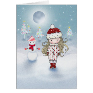 Little Girl with Snowman Christmas Card