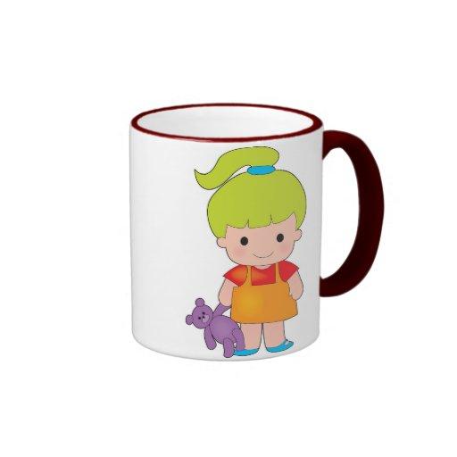 Little Girl with Teddy Bear Mugs