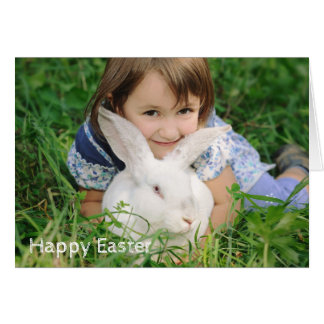 Little girl with white rabbit card