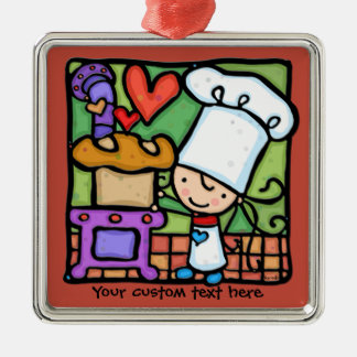 Little Girlie loves to bake bread DK RUST Metal Ornament