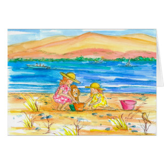 Little Girls At The Beach Thinking of You Sister Card