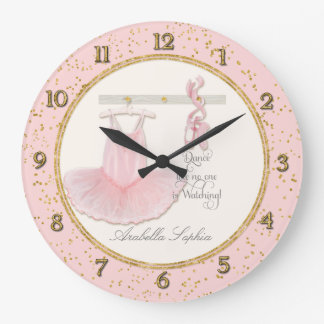 Little Girls Ballet Ballerina Dance Room Decor Large Clock