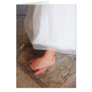 little girl's bare feet, princess dress card