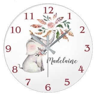 Little Girl's Boho Pink Gray Baby Elephant Large Clock