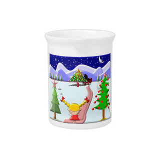 Little Girl's Christmas Beverage Pitchers
