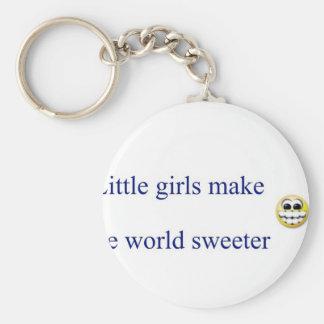 Little girls make the world sweeter basic round button key ring