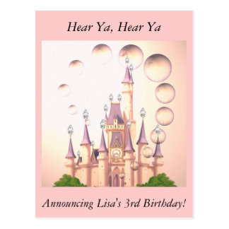 Little Girl's Princess Castle Birthday Invitations Postcard
