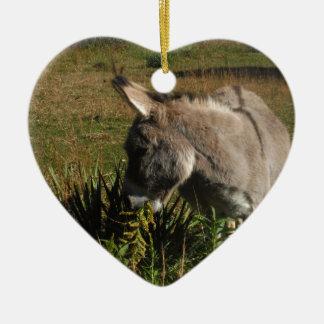 Little gray Donkey w / wildflowers Ceramic Ornament