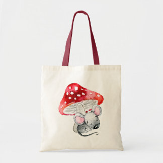 Little Gray Sleeping Mouse Under Red Mushroom Tote Bag