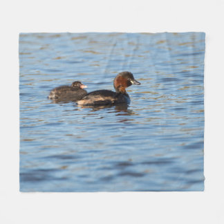 Little Grebe and Chick Fleece Blanket