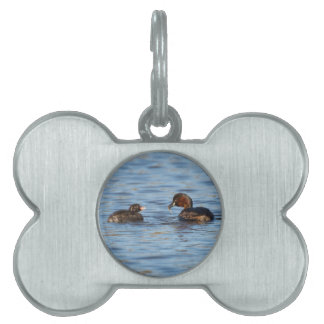Little Grebe and Chick Pet Name Tag