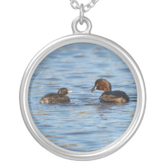 Little Grebe and Chick Silver Plated Necklace
