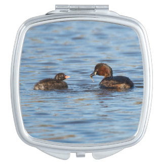 Little Grebe and Chick Travel Mirrors