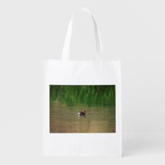 Little grebe duck in breeding plumage reusable grocery bag