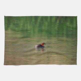 Little grebe duck in breeding plumage tea towel