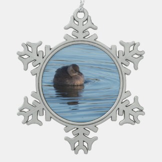 Little Grebe Snowflake Pewter Christmas Ornament