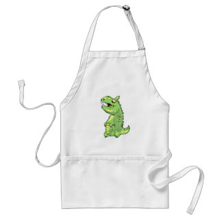 little green dinosaur cartoon standard apron