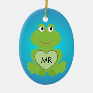 Little green frog. Customize initials on the heart Ceramic Ornament