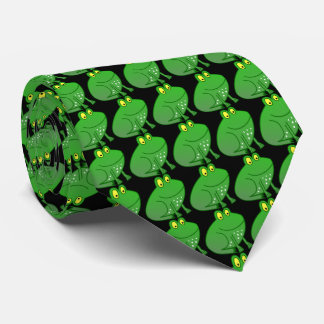 Little green Frog Prince with black background Tie