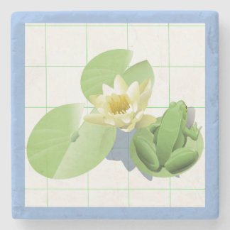 Little Green Frog Sitting on a Lily Pad Stone Coaster