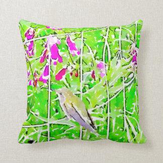 Little green hummingbird  and purple flowers cushion
