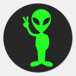 Little Green Man Round Stickers