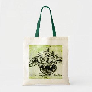 Little Green Monster Sketch Canvas Bag
