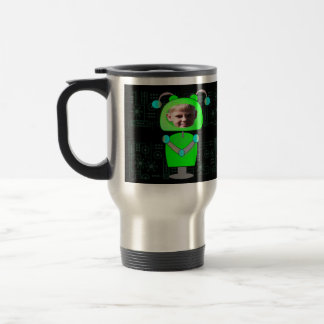 Little Green Robot Photo Face Template Stainless Steel Travel Mug