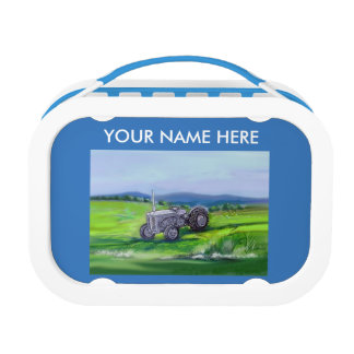 Little grey fergie tractor kids customise lunch box
