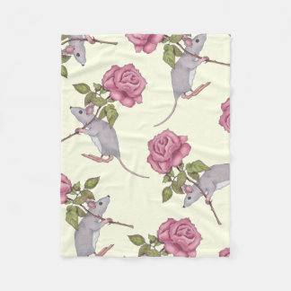 Little Grey Mouse Carrying Big Pink Rose Fleece Blanket