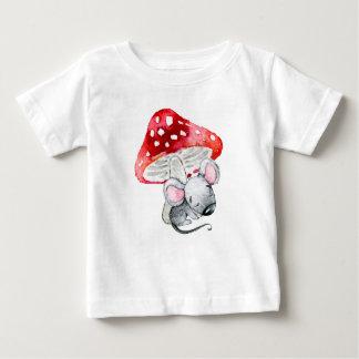 Little Grey Sleeping Mouse Under Red Mushroom Baby T-Shirt