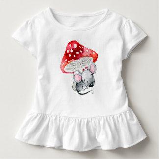 Little Grey Sleeping Mouse Under Red Mushroom Toddler T-Shirt