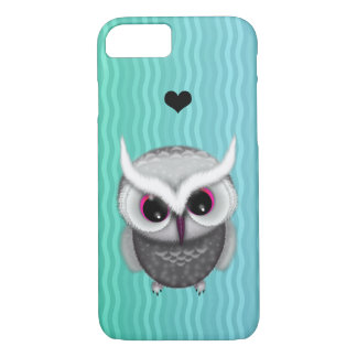 Little Grumpy Horned Owl Illustration iPhone 7 Case