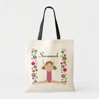 Little Gymnast in Pink and Green Budget Tote Bag