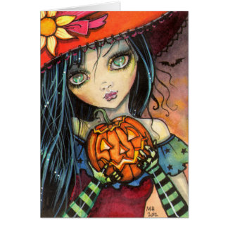 Little Halloween Witch Fantasy Art Card